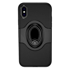 Shockproof Full Coverage Case for iPhone XS Max, with Magnetic Rotatable Ring Holder (Black)