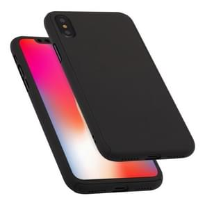 360 Degrees Full Coverage Detachable PC Case with Tempered Glass Film for iPhone XS Max (Black)