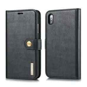 DG.MING Crazy Horse Texture Flip Detachable Magnetic Leather Case for iPhone XS Max, with Holder & Card Slots & Wallet (Black)
