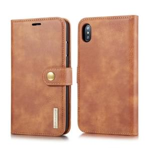DG.MING Crazy Horse Texture Flip Detachable Magnetic Leather Case for iPhone XS Max, with Holder & Card Slots & Wallet (Brown)