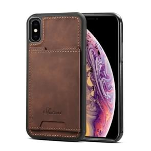 Shockproof TPU + PU Protective Case for iPhone XS Max, with Holder & Card Slot (Coffee)