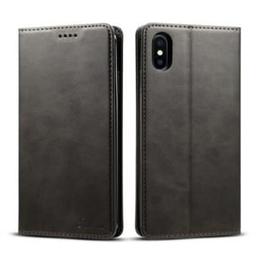 Suteni Calf Texture Horizontal Flip Leather Case for iPhone XS Max, with Holder & Card Slots & Wallet(Black)