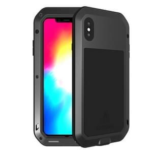 LOVE MEI Powerful Dustproof Shockproof Anti-slip Metal + Silicone Combination Case for iPhone XS Max(Black)