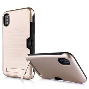 Geborsteld koning serie ultradunne TPU + PC beschermende case voor iPhone XS Max, met kaartsleuf & houder (goud)