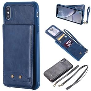 Vertical Flip Fashion Shockproof Leather Case for iPhone XS Max, with Holder & Photo Frame & Card Slots & Lanyard (Blue)