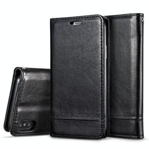 Double-sided Absorption Splicing Horizontal Flip Leather Case for iPhone XS Max, with Holder & Card Slots & Lanyard (Black)