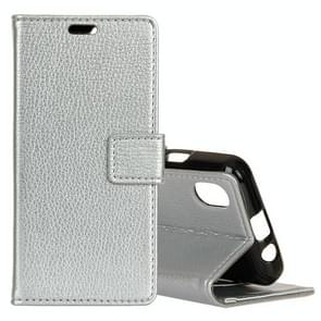 Litchi Texture Horizontal Flip Leather Case for iPhone XS Max, with Holder & Card Slots & Wallet (Silver)