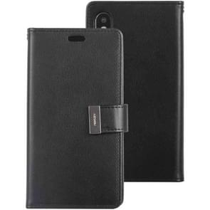 MERCURY GOOSPERY RICH DIARY Crazy Horse Texture Horizontal Flip Leather Case for iPhone XS Max, with Card Slots & Wallet (Black)