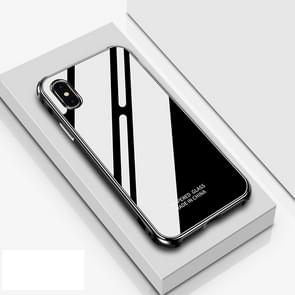 Crystal Cube Shockproof Airbag Tempered Glass + Metal Frame Case for iPhone XS Max (Black)