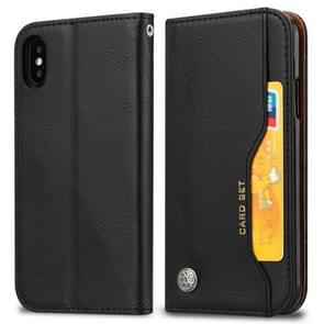 Knead Skin Texture Horizontal Flip Leather Case for iPhone XS Max, with Photo Frame & Holder & Card Slots & Wallet(Black)