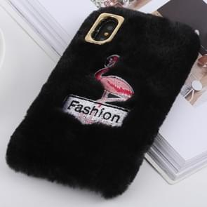 Flamingo Pattern Plush Case for iPhone XS Max (Black)