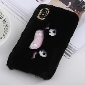 Wacky expression Pattern Plush Case for iPhone XS Max (Black)
