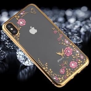 Bloemen patroon Diamond Encrusted galvaniseren zachte TPU Case voor iPhone XS Max (goud)