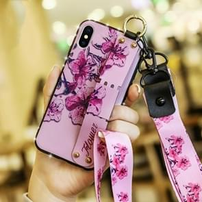 Colorful Painted Shockproof TPU + Cloth Texture Case for iPhone XS Max, with Wristband & Holder & Lanyard (Pink)