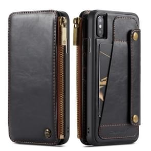 CaseMe-011 Detachable Multifunctional Horizontal Flip Leather Case for iPhone XS Max, with Card Slot & Holder & Zipper Wallet & Photo Frame (Black)
