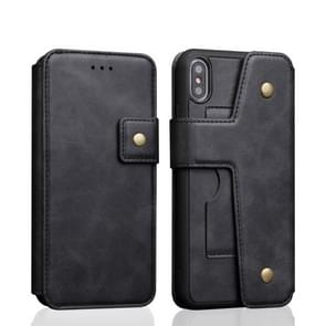 Cowhide Texture Magnetic Absorption Detachable Horizontal Flip Leather Case for iPhone XS Max, with Holder & Card Slots & Wallet (Black)