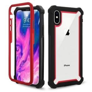 4-hoek schokbestendige all-inclusive transparante ruimte Case voor iPhone XS Max (zwart rood)