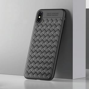 USAMS Yun Series Knit Texture TPU Shockproof Protective Back Case for iPhone XS Max (Black)