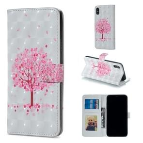 Pink Tree Pattern Horizontal Flip Leather Case for iPhone XS Max, with Holder & Card Slots & Photo Frame & Wallet