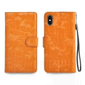 Horizontale Flip 3D verlopende kleur PU + TPU Leather Case for iPhone XS Max, met houder & Card Slots & fotolijstjes (oranje)