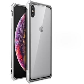 Snap-on Aluminum Frame and Tempered Glass Back Plate Case for iPhone XS MAX(Silver)