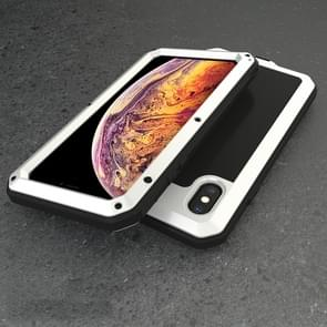 Waterproof Dustproof Shockproof Aluminum Alloy + Tempered Glass + Silicone Case for iPhone XS Max (White)