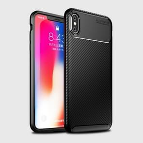 Beetle Shape Carbon Fiber Texture Shockproof TPU Case for iPhone XS Max(Black)