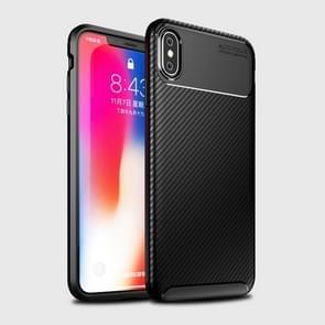 Kever vorm Carbon Fiber textuur Shockproof TPU Case voor iPhone XS Max(Black)