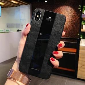 Shockproof Litchi Texture + Glass Case for iPhone XS Max (Black)