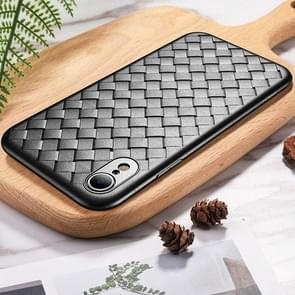 ROCK Slim Weave Style TPU Soft Case for iPhone XR (Black)