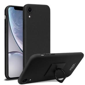 IMAK Matte Touch Cowboy PC Case voor iPhone XR  met houder & scherm Sticker (zwart)