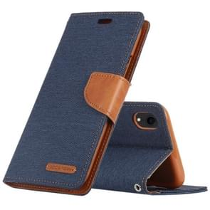MERCURY GOOSPERY CANVAS DIARY Denim Texture Horizontal Flip Leather Case for iPhone XR, with Holder & Card Slots & Wallet (Dark Blue)