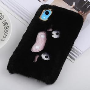 Wacky expression Pattern Plush Case for iPhone XR (Black)