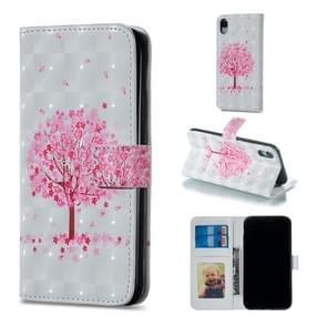 Pink Tree Pattern Horizontal Flip Leather Case for iPhone XR, with Holder & Card Slots & Photo Frame & Wallet