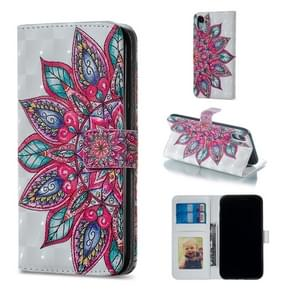Half Flower Pattern Horizontal Flip Leather Case for iPhone XR, with Holder & Card Slots & Photo Frame & Wallet