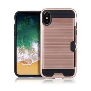 Brushed Texture Shockproof TPU + PC Case for iPhone XR , with Card Slots (Rose Gold)