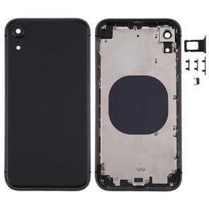 Square Frame Battery Back Cover met SIM Card Tray & Side keys voor iPhone XR(Zwart)