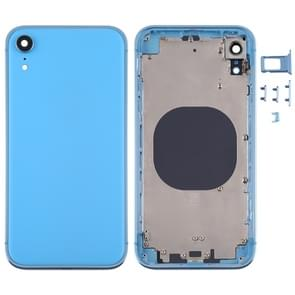 Square Frame Battery Back Cover met SIM Card Tray & Side keys voor iPhone XR(Blauw)