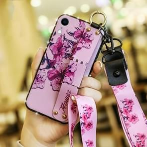 Colorful Painted Shockproof TPU + Cloth Texture Case for iPhone XR, with Wristband & Holder & Lanyard (Pink)