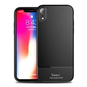 iPAKY Carbon Fiber Texture Soft TPU Case for iPhone XR (Black)