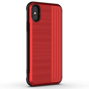 TPU + PC Protective Case for iPhone XR, with Card Slot and Holder (Red)