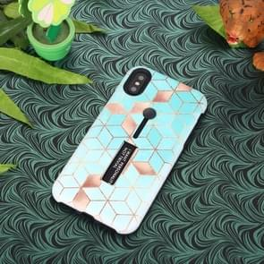 Seamless Rhombus Pattern Embossed Painted TPU + PC Case with Holder for iPhone XR(Baby Blue)