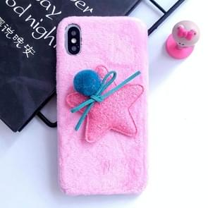 3D Fur Ball & Star Plush Case for iPhone XR (Pink)