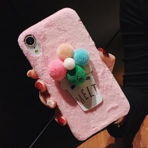 3D Fur Ball Flower Plush Case for iPhone XR (Pink)