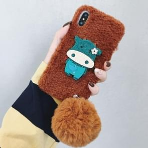 Cow Pattern Plush Case for iPhone XR, with Fur Ball Pendant (Coffee)