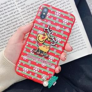 Christmas Elk Paster Pattern TPU Case for iPhone XR, with Pendant