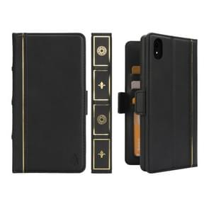 Bible Style Business Horizontal Flip Leather Case for iPhone XR, with Card Slots & Photo Frame & Holder & Wallet (Black)