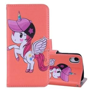 Unicorn Pattern Horizontal Flip Leather Case for iPhone XR,  with Holder & Mirror & Card Slot & Wallet & Lanyard(Orange)