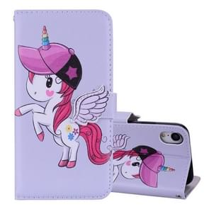 Unicorn Pattern Horizontal Flip Leather Case for iPhone XR,  with Holder & Mirror & Card Slot & Wallet & Lanyard(Grey)