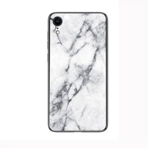 Marble Glass Protective Case for iPhone XR(White)